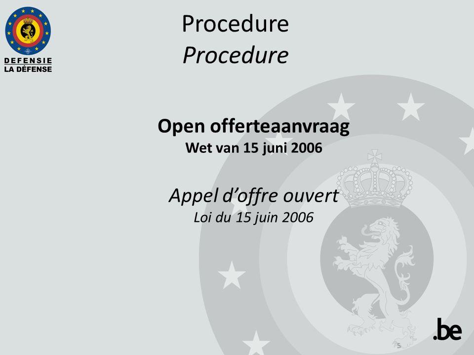 5Procedure Open offerteaanvraag Wet van 15 juni 2006 Appel d'offre ouvert Loi du 15 juin 2006