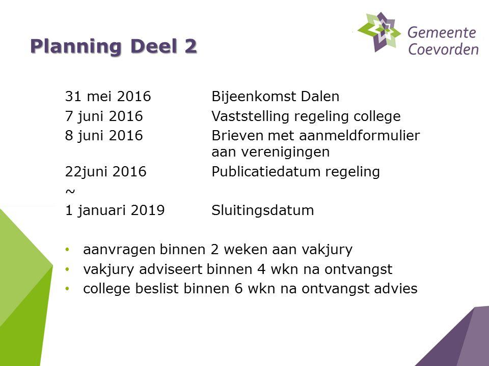 Planning Deel 2 31 mei 2016Bijeenkomst Dalen 7 juni 2016Vaststelling regeling college 8 juni 2016Brieven met aanmeldformulier aan verenigingen 22juni