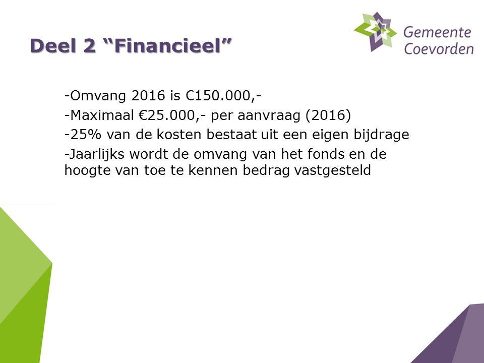 Deel 2 Financieel -Omvang 2016 is €150.000,- -Maximaal €25.000,- per aanvraag (2016) -25% van de kosten bestaat uit een eigen bijdrage -Jaarlijks wordt de omvang van het fonds en de hoogte van toe te kennen bedrag vastgesteld