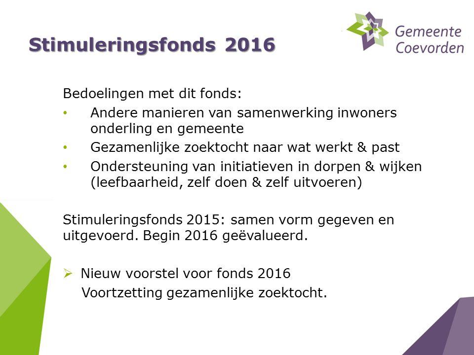 Stimuleringsfonds 2016 Bedoelingen met dit fonds: Andere manieren van samenwerking inwoners onderling en gemeente Gezamenlijke zoektocht naar wat werk
