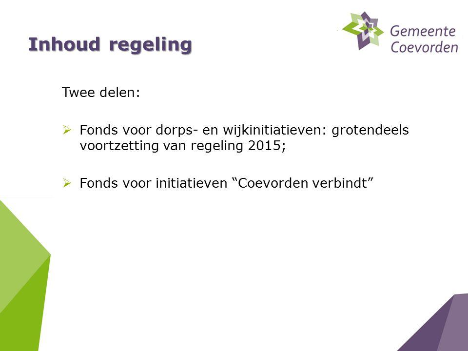 Inhoud regeling Twee delen:  Fonds voor dorps- en wijkinitiatieven: grotendeels voortzetting van regeling 2015;  Fonds voor initiatieven Coevorden verbindt