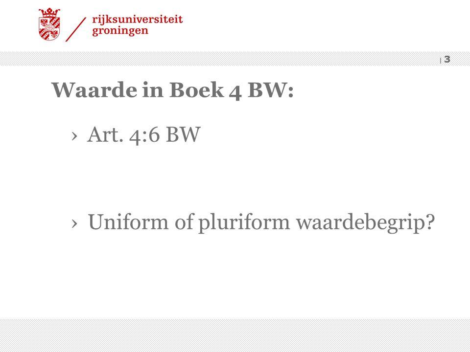 | 3 Waarde in Boek 4 BW: ›Art. 4:6 BW ›Uniform of pluriform waardebegrip? | 3