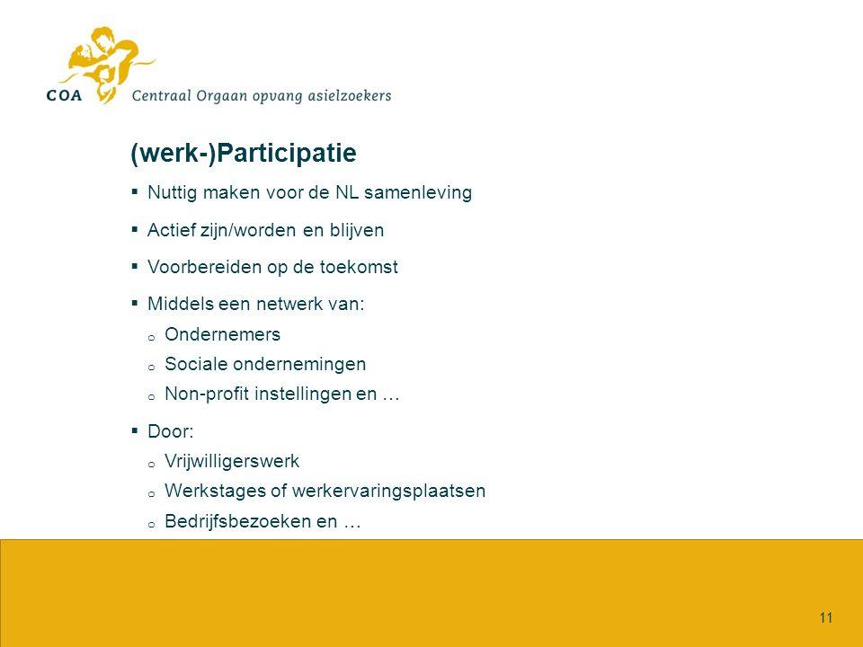 (werk-)Participatie  Nuttig maken voor de NL samenleving  Actief zijn/worden en blijven  Voorbereiden op de toekomst  Middels een netwerk van: o Ondernemers o Sociale ondernemingen o Non-profit instellingen en …  Door: o Vrijwilligerswerk o Werkstages of werkervaringsplaatsen o Bedrijfsbezoeken en … 11