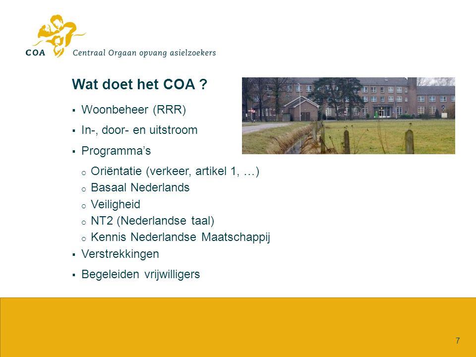 Wat doet het COA ?  Woonbeheer (RRR)  In-, door- en uitstroom  Programma's o Oriëntatie (verkeer, artikel 1, …) o Basaal Nederlands o Veiligheid o