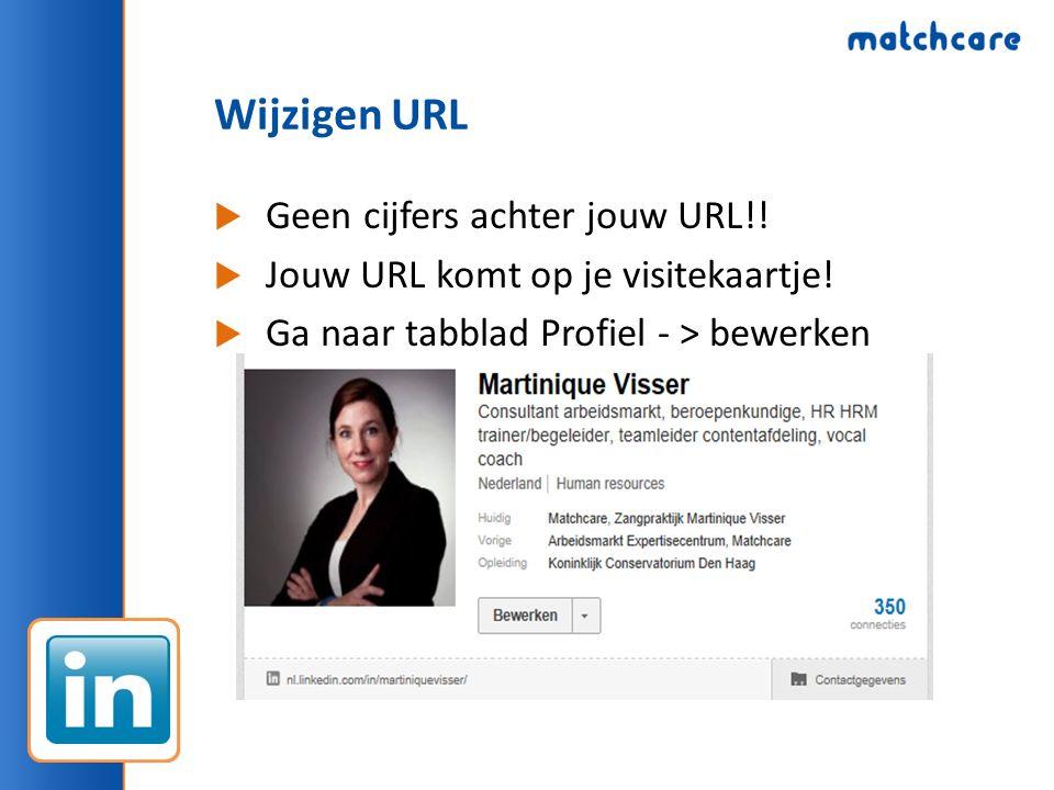 Wijzigen URL  Geen cijfers achter jouw URL!!  Jouw URL komt op je visitekaartje!  Ga naar tabblad Profiel - > bewerken