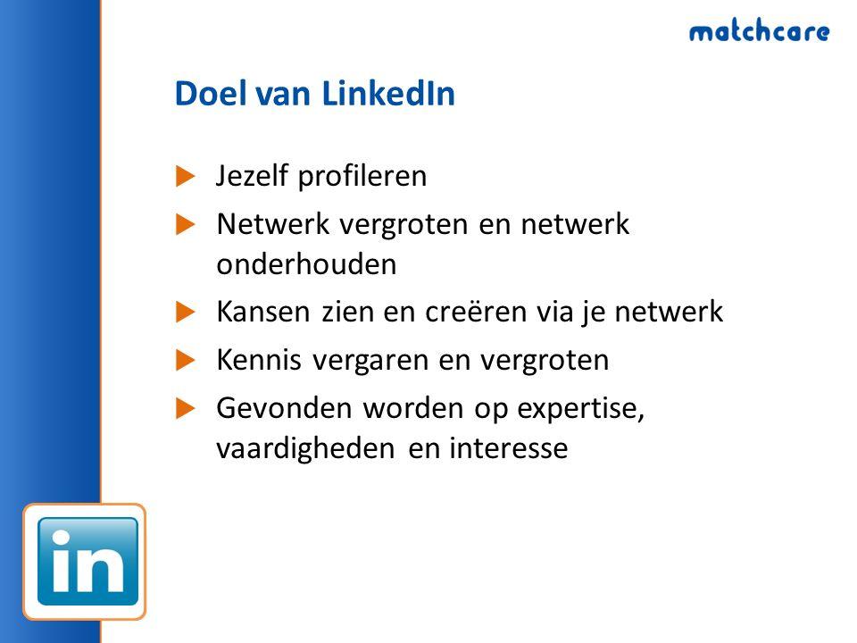 Doel van LinkedIn  Jezelf profileren  Netwerk vergroten en netwerk onderhouden  Kansen zien en creëren via je netwerk  Kennis vergaren en vergroten  Gevonden worden op expertise, vaardigheden en interesse