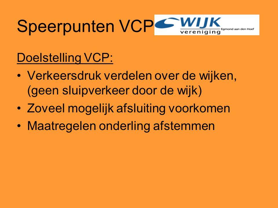 Speerpunten VCP Doelstelling VCP: Verkeersdruk verdelen over de wijken, (geen sluipverkeer door de wijk) Zoveel mogelijk afsluiting voorkomen Maatregelen onderling afstemmen