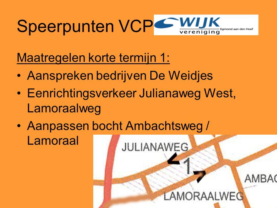 Speerpunten VCP Maatregelen korte termijn 1: Aanspreken bedrijven De Weidjes Eenrichtingsverkeer Julianaweg West, Lamoraalweg Aanpassen bocht Ambachtsweg / Lamoraal