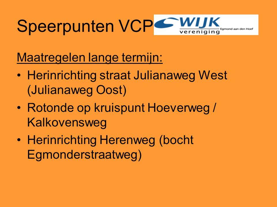Speerpunten VCP Maatregelen lange termijn: Herinrichting straat Julianaweg West (Julianaweg Oost) Rotonde op kruispunt Hoeverweg / Kalkovensweg Herinrichting Herenweg (bocht Egmonderstraatweg)