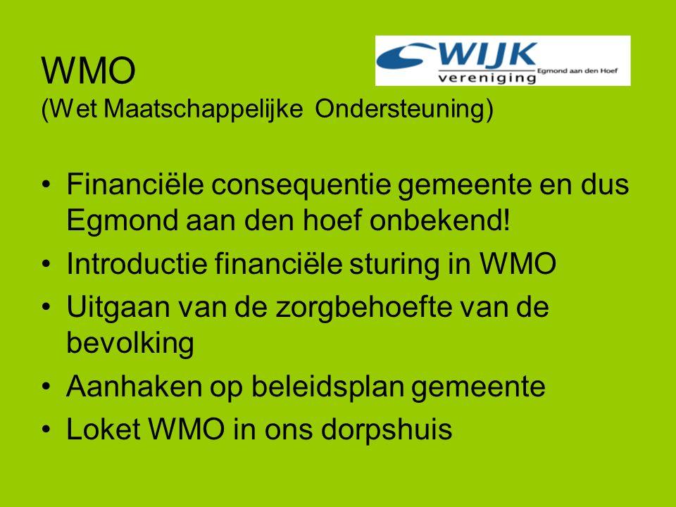 WMO (Wet Maatschappelijke Ondersteuning) Financiële consequentie gemeente en dus Egmond aan den hoef onbekend! Introductie financiële sturing in WMO U