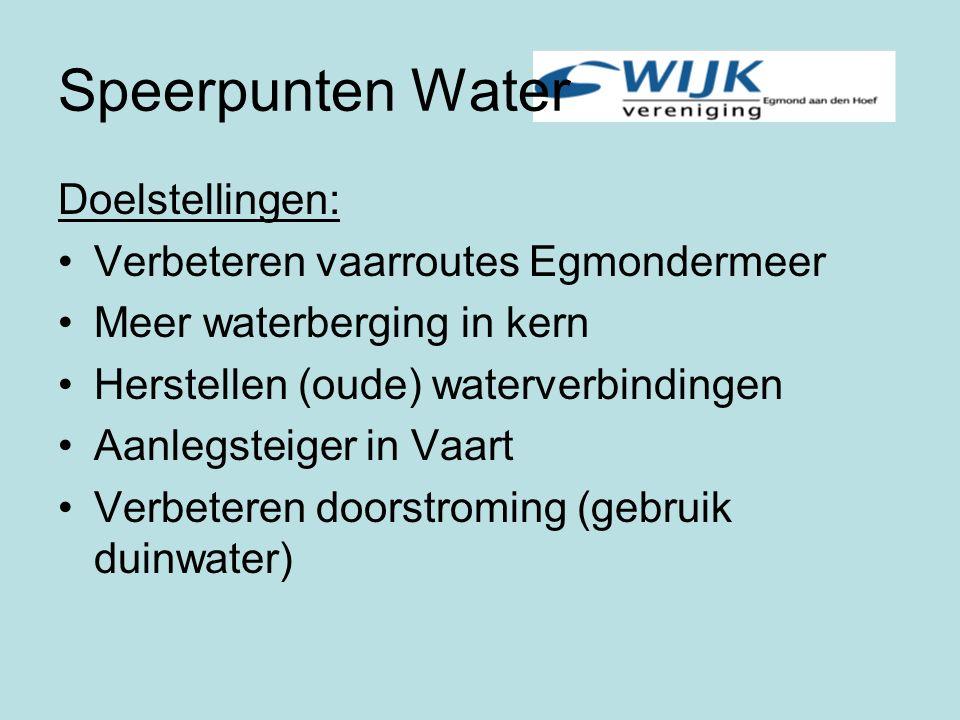 Speerpunten Water Doelstellingen: Verbeteren vaarroutes Egmondermeer Meer waterberging in kern Herstellen (oude) waterverbindingen Aanlegsteiger in Vaart Verbeteren doorstroming (gebruik duinwater)