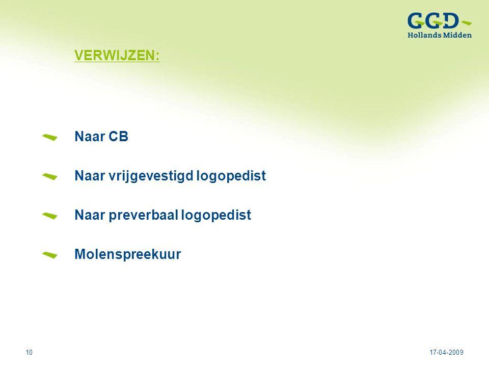 1017-04-2009 VERWIJZEN: Naar CB Naar vrijgevestigd logopedist Naar preverbaal logopedist Molenspreekuur