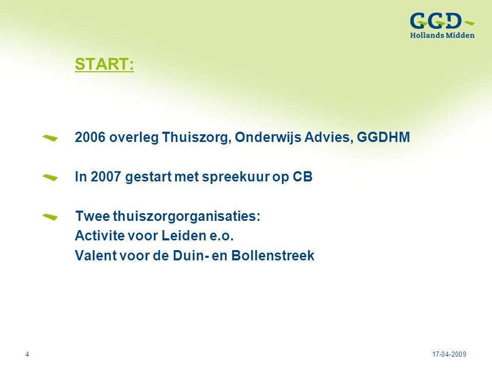 417-04-2009 START: 2006 overleg Thuiszorg, Onderwijs Advies, GGDHM In 2007 gestart met spreekuur op CB Twee thuiszorgorganisaties: Activite voor Leiden e.o.