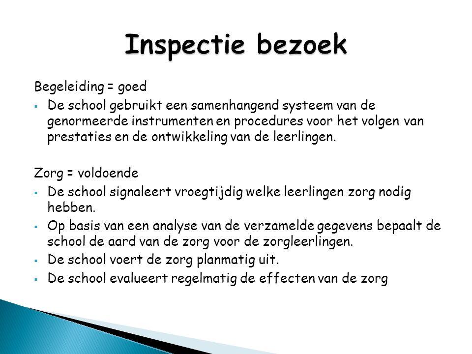 Begeleiding = goed  De school gebruikt een samenhangend systeem van de genormeerde instrumenten en procedures voor het volgen van prestaties en de on