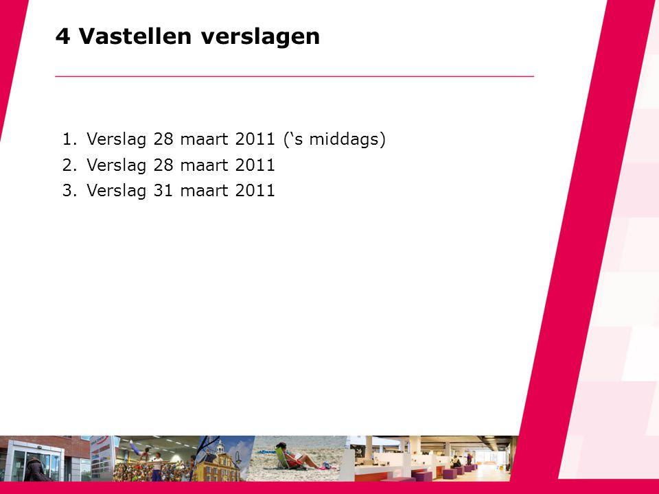 4 Vastellen verslagen 1.Verslag 28 maart 2011 ('s middags) 2.Verslag 28 maart 2011 3.Verslag 31 maart 2011