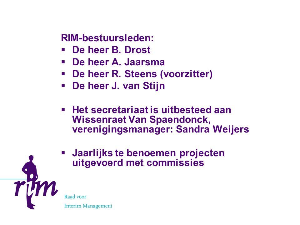 RIM-bestuursleden:  De heer B. Drost  De heer A.