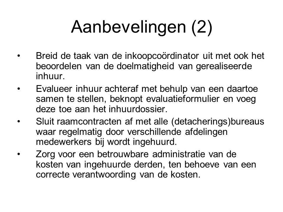 Aanbevelingen (2) Breid de taak van de inkoopcoördinator uit met ook het beoordelen van de doelmatigheid van gerealiseerde inhuur. Evalueer inhuur ach