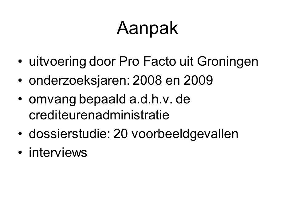 Aanpak uitvoering door Pro Facto uit Groningen onderzoeksjaren: 2008 en 2009 omvang bepaald a.d.h.v. de crediteurenadministratie dossierstudie: 20 voo