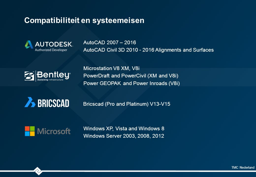 TMC Nederland Compatibiliteit en systeemeisen AutoCAD 2007 – 2016 AutoCAD Civil 3D 2010 - 2016 Alignments and Surfaces Microstation V8 XM, V8i PowerDraft and PowerCivil (XM and V8i) Power GEOPAK and Power Inroads (V8i) Windows XP, Vista and Windows 8 Windows Server 2003, 2008, 2012 Bricscad (Pro and Platinum) V13-V15