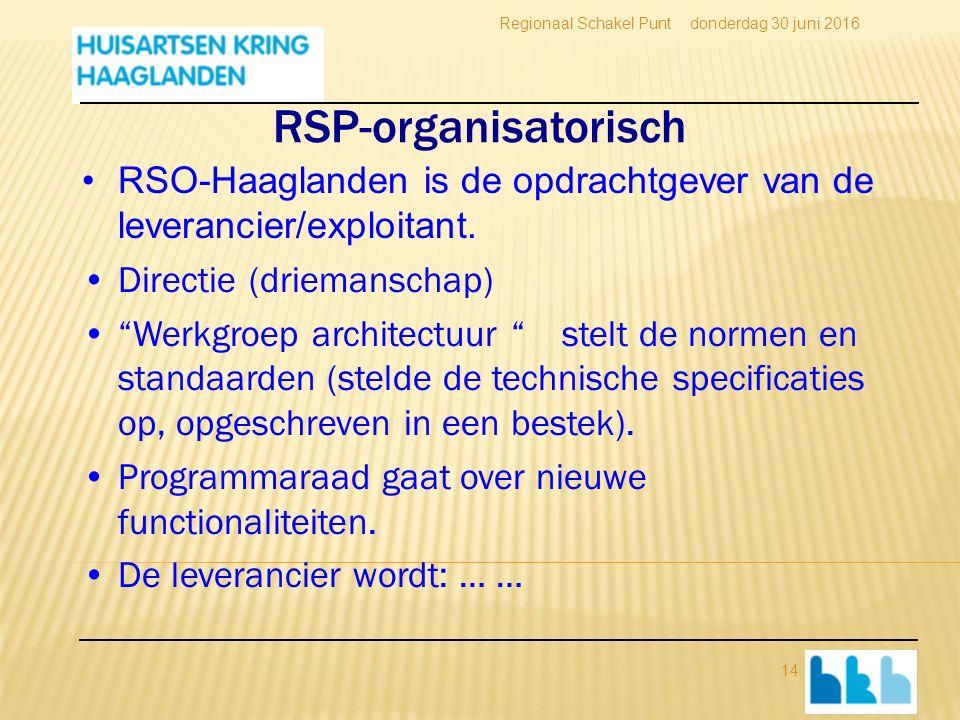 RSP-organisatorisch RSO-Haaglanden is de opdrachtgever van de leverancier/exploitant.