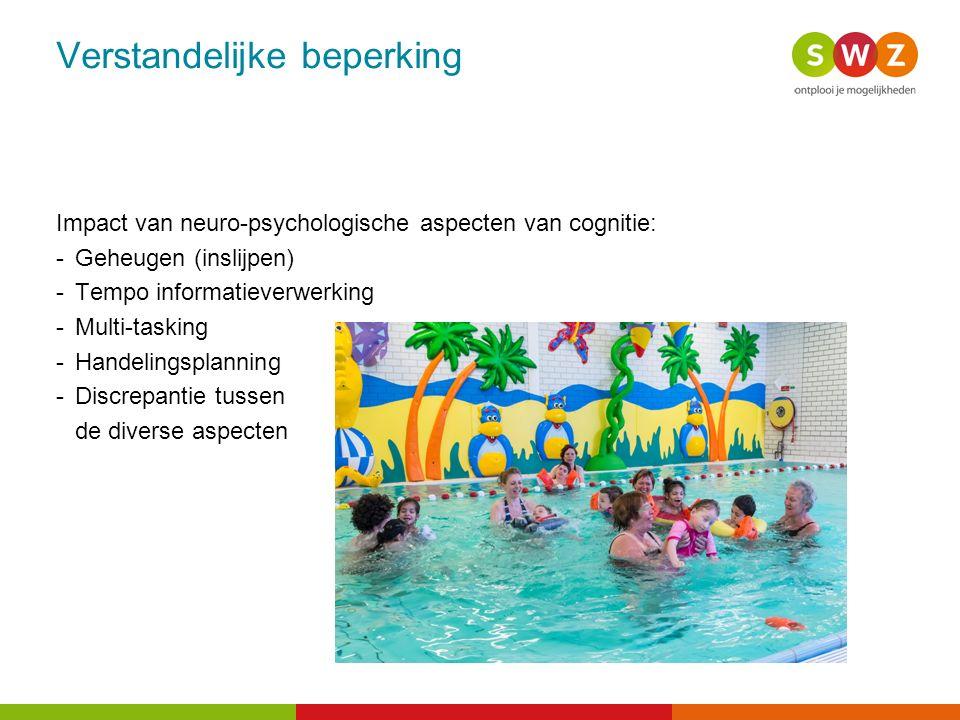 Verstandelijke beperking Impact van neuro-psychologische aspecten van cognitie: - Geheugen (inslijpen) - Tempo informatieverwerking - Multi-tasking -