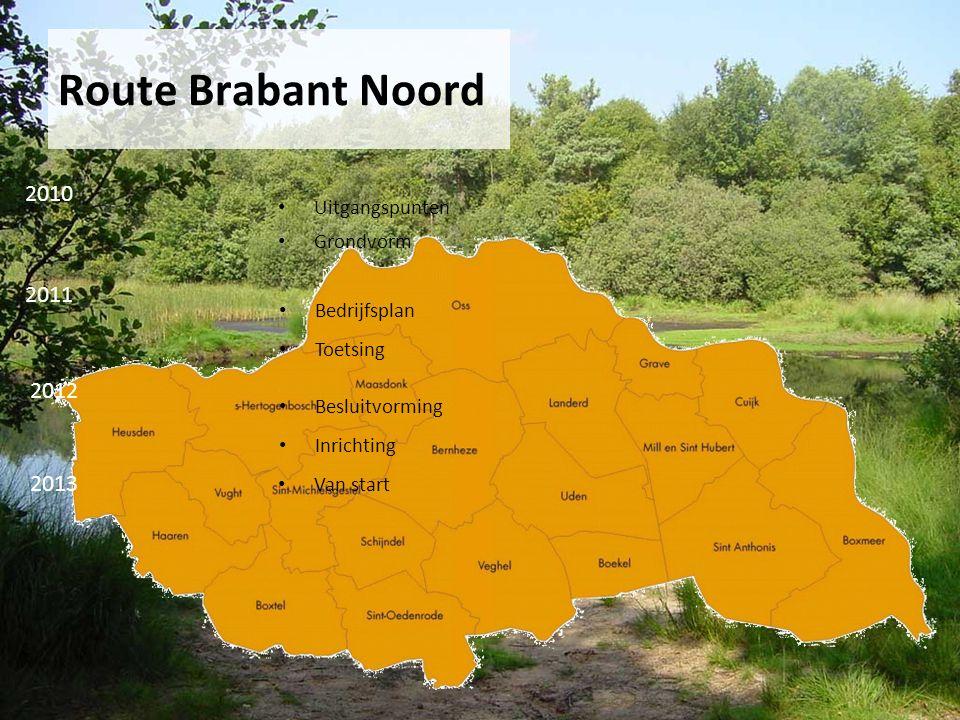 Route Brabant Noord 2010 2011 2012 Uitgangspunten Grondvorm Bedrijfsplan Toetsing Besluitvorming Inrichting 2013 Van start