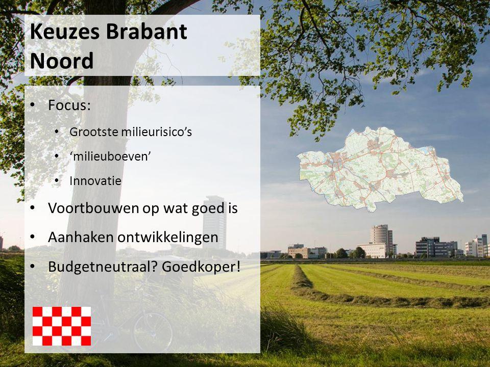 Focus: Grootste milieurisico's 'milieuboeven' Innovatie Voortbouwen op wat goed is Aanhaken ontwikkelingen Budgetneutraal? Goedkoper! Keuzes Brabant N