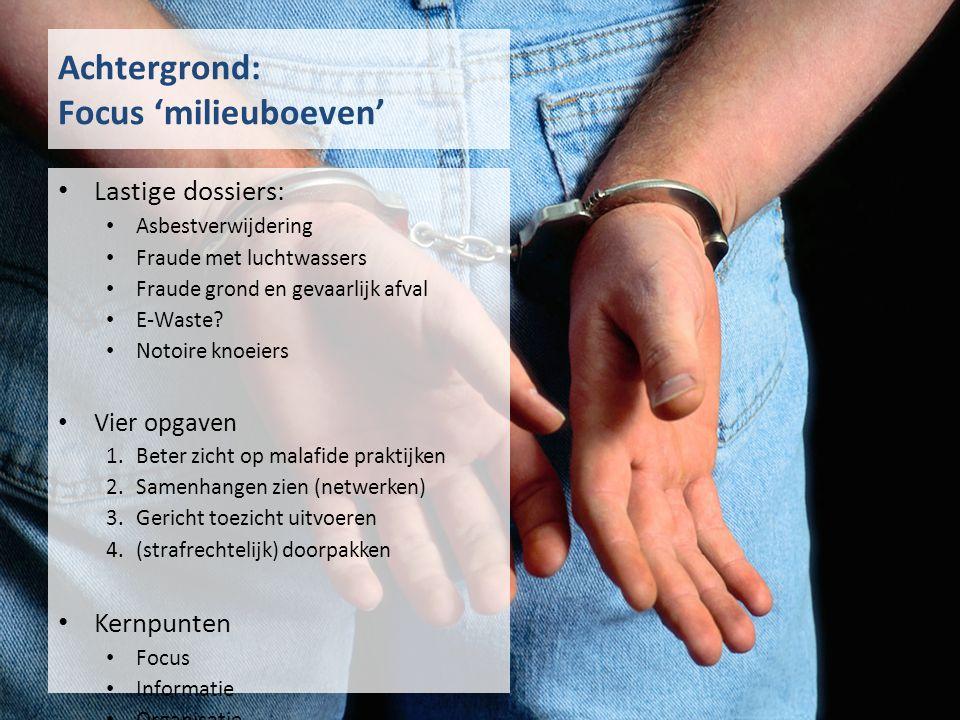 Achtergrond: Focus 'milieuboeven' Lastige dossiers: Asbestverwijdering Fraude met luchtwassers Fraude grond en gevaarlijk afval E-Waste.