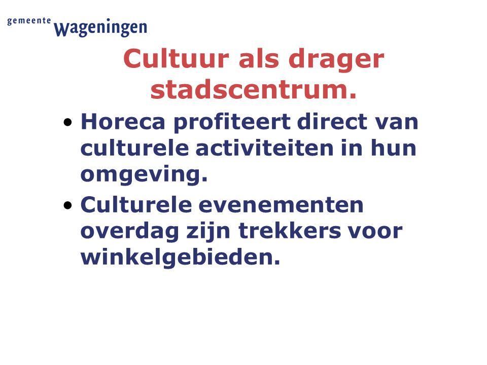 Cultuur als drager stadscentrum. Horeca profiteert direct van culturele activiteiten in hun omgeving. Culturele evenementen overdag zijn trekkers voor