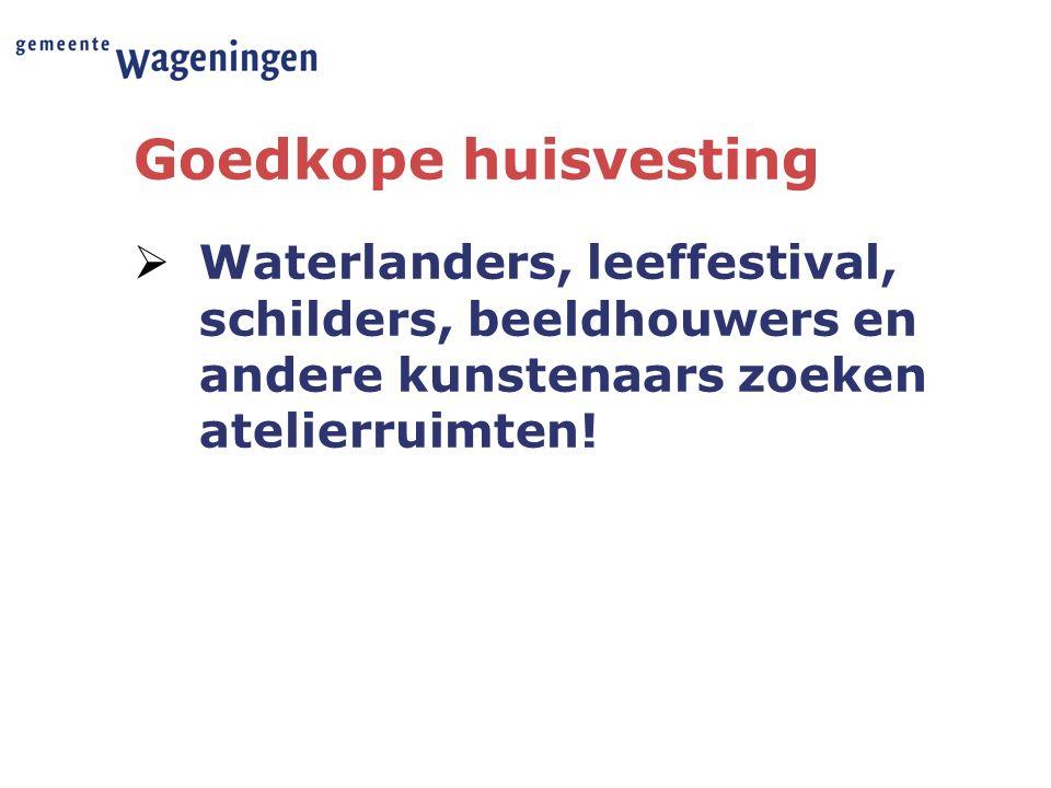 Goedkope huisvesting  Waterlanders, leeffestival, schilders, beeldhouwers en andere kunstenaars zoeken atelierruimten!
