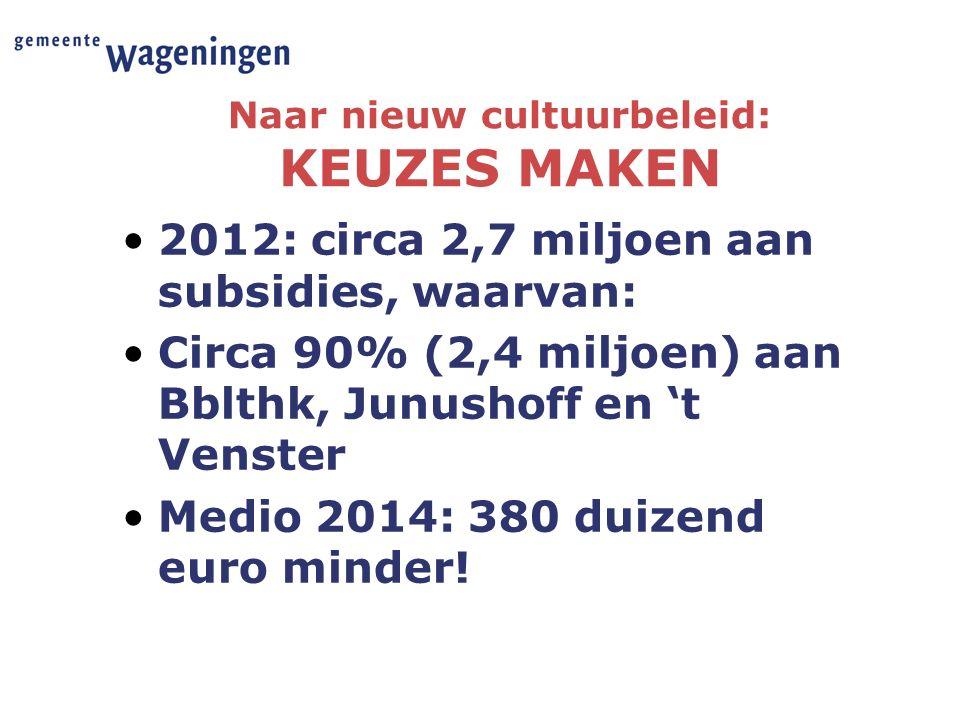 Naar nieuw cultuurbeleid: KEUZES MAKEN 2012: circa 2,7 miljoen aan subsidies, waarvan: Circa 90% (2,4 miljoen) aan Bblthk, Junushoff en 't Venster Medio 2014: 380 duizend euro minder!