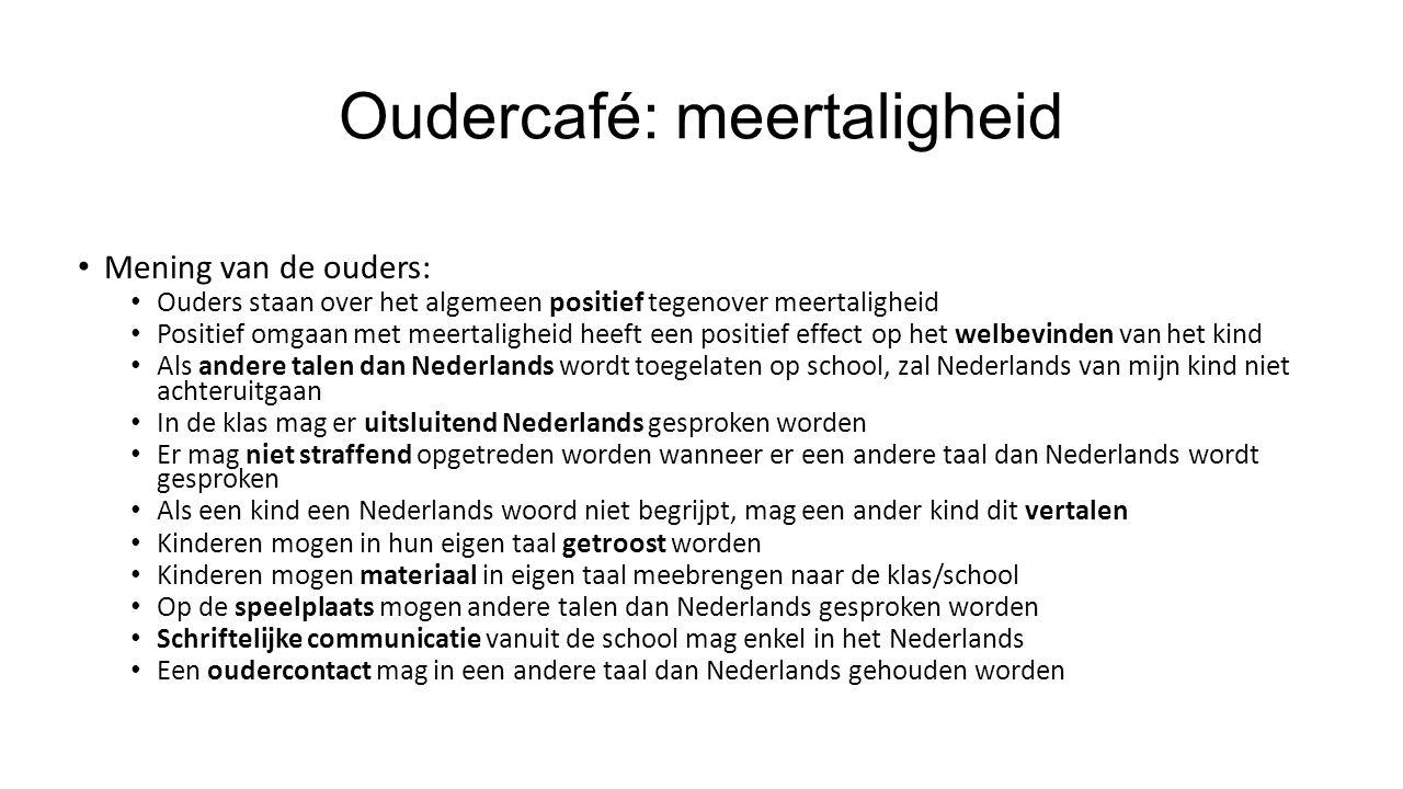 Oudercafé: meertaligheid Mening van de ouders: Ouders staan over het algemeen positief tegenover meertaligheid Positief omgaan met meertaligheid heeft een positief effect op het welbevinden van het kind Als andere talen dan Nederlands wordt toegelaten op school, zal Nederlands van mijn kind niet achteruitgaan In de klas mag er uitsluitend Nederlands gesproken worden Er mag niet straffend opgetreden worden wanneer er een andere taal dan Nederlands wordt gesproken Als een kind een Nederlands woord niet begrijpt, mag een ander kind dit vertalen Kinderen mogen in hun eigen taal getroost worden Kinderen mogen materiaal in eigen taal meebrengen naar de klas/school Op de speelplaats mogen andere talen dan Nederlands gesproken worden Schriftelijke communicatie vanuit de school mag enkel in het Nederlands Een oudercontact mag in een andere taal dan Nederlands gehouden worden