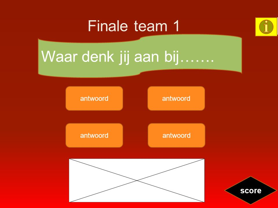 Finale team 1 antwoord Waar denk jij aan bij……. score