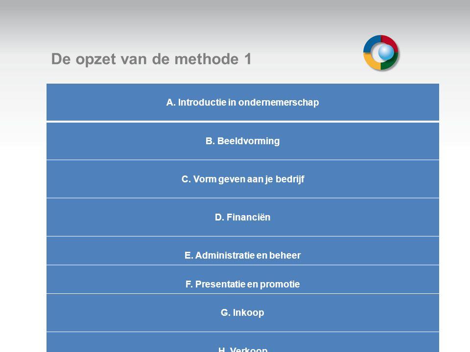 Welkom De opzet van de methode 1 A. Introductie in ondernemerschap B. Beeldvorming C. Vorm geven aan je bedrijf D. Financiën E. Administratie en behee