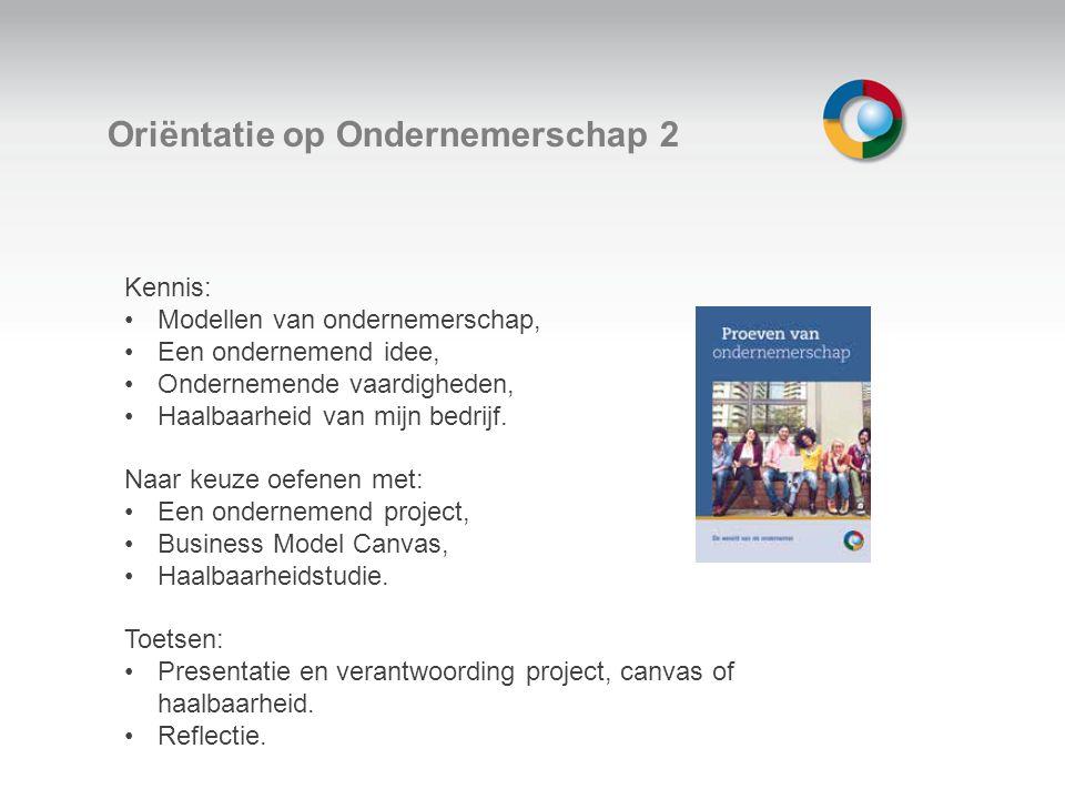 Welkom Oriëntatie op Ondernemerschap 2 Kennis: Modellen van ondernemerschap, Een ondernemend idee, Ondernemende vaardigheden, Haalbaarheid van mijn bedrijf.