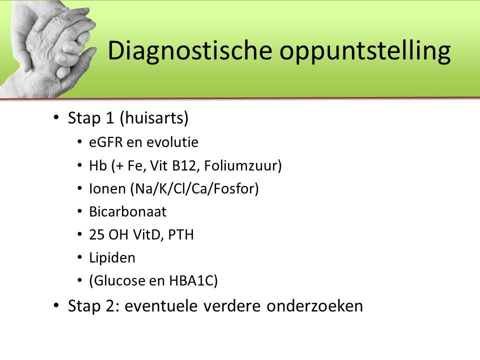 Diagnostische oppuntstelling Stap 1 (huisarts) eGFR en evolutie Hb (+ Fe, Vit B12, Foliumzuur) Ionen (Na/K/Cl/Ca/Fosfor) Bicarbonaat 25 OH VitD, PTH Lipiden (Glucose en HBA1C) Stap 2: eventuele verdere onderzoeken