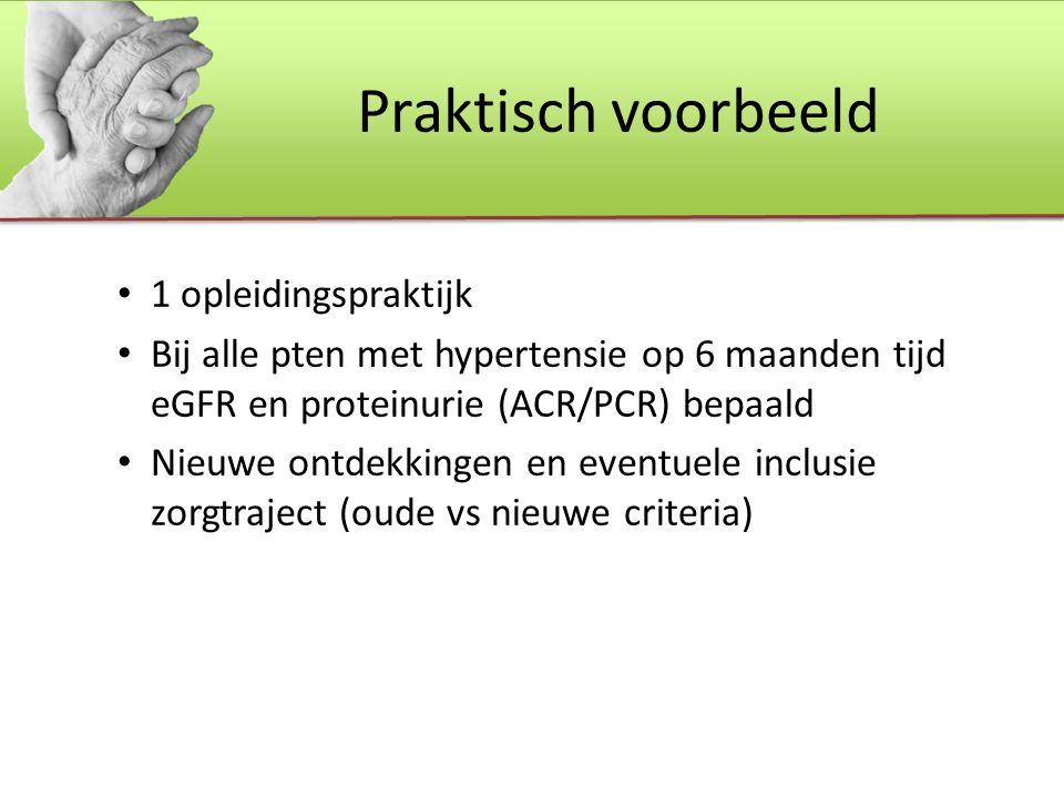 Praktisch voorbeeld 1 opleidingspraktijk Bij alle pten met hypertensie op 6 maanden tijd eGFR en proteinurie (ACR/PCR) bepaald Nieuwe ontdekkingen en eventuele inclusie zorgtraject (oude vs nieuwe criteria)