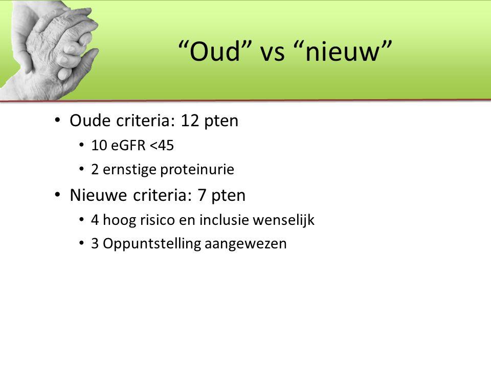 Oud vs nieuw Oude criteria: 12 pten 10 eGFR <45 2 ernstige proteinurie Nieuwe criteria: 7 pten 4 hoog risico en inclusie wenselijk 3 Oppuntstelling aangewezen