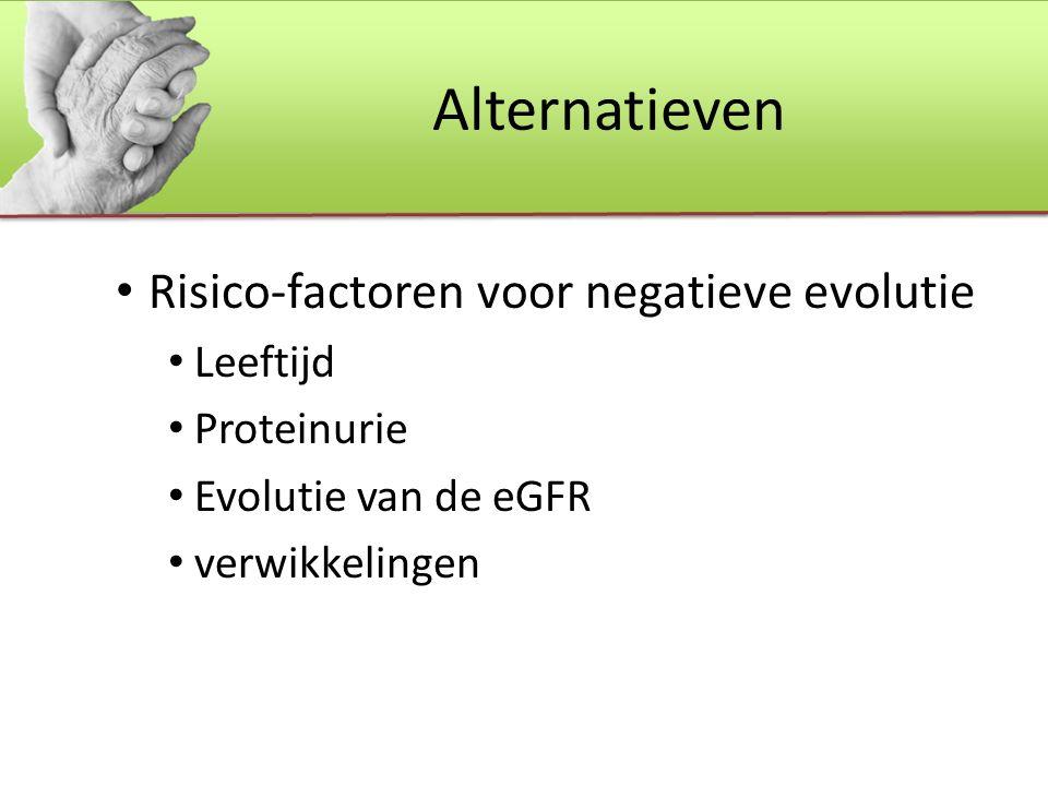 Alternatieven Risico-factoren voor negatieve evolutie Leeftijd Proteinurie Evolutie van de eGFR verwikkelingen