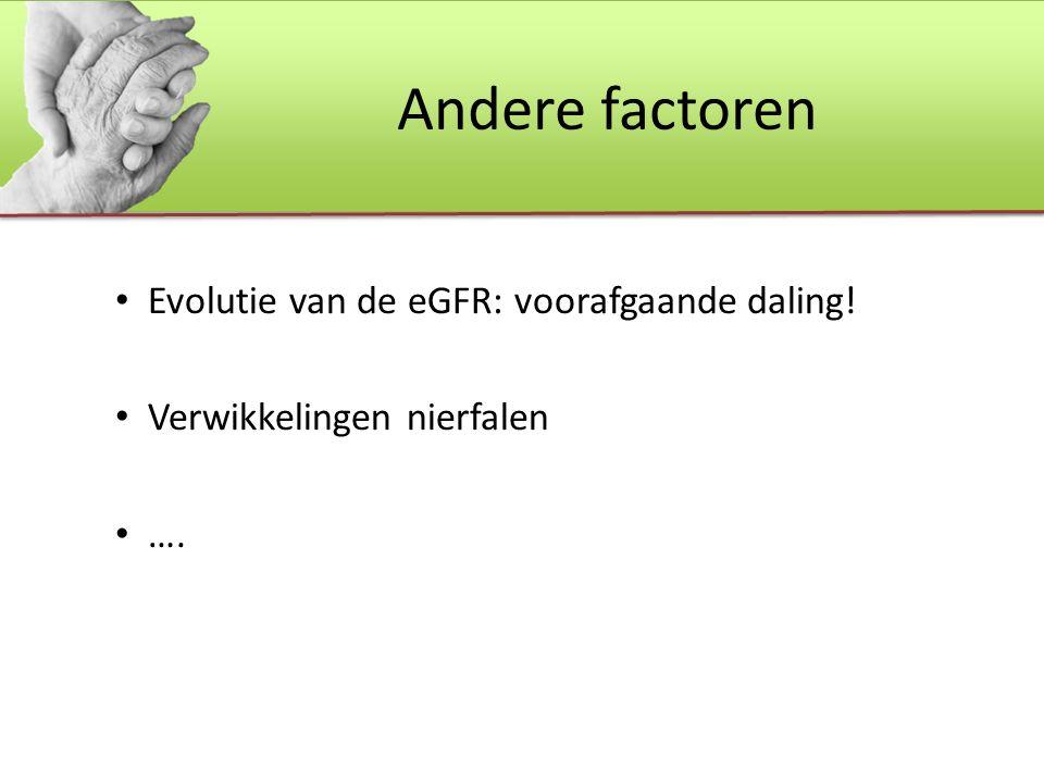 Andere factoren Evolutie van de eGFR: voorafgaande daling! Verwikkelingen nierfalen ….