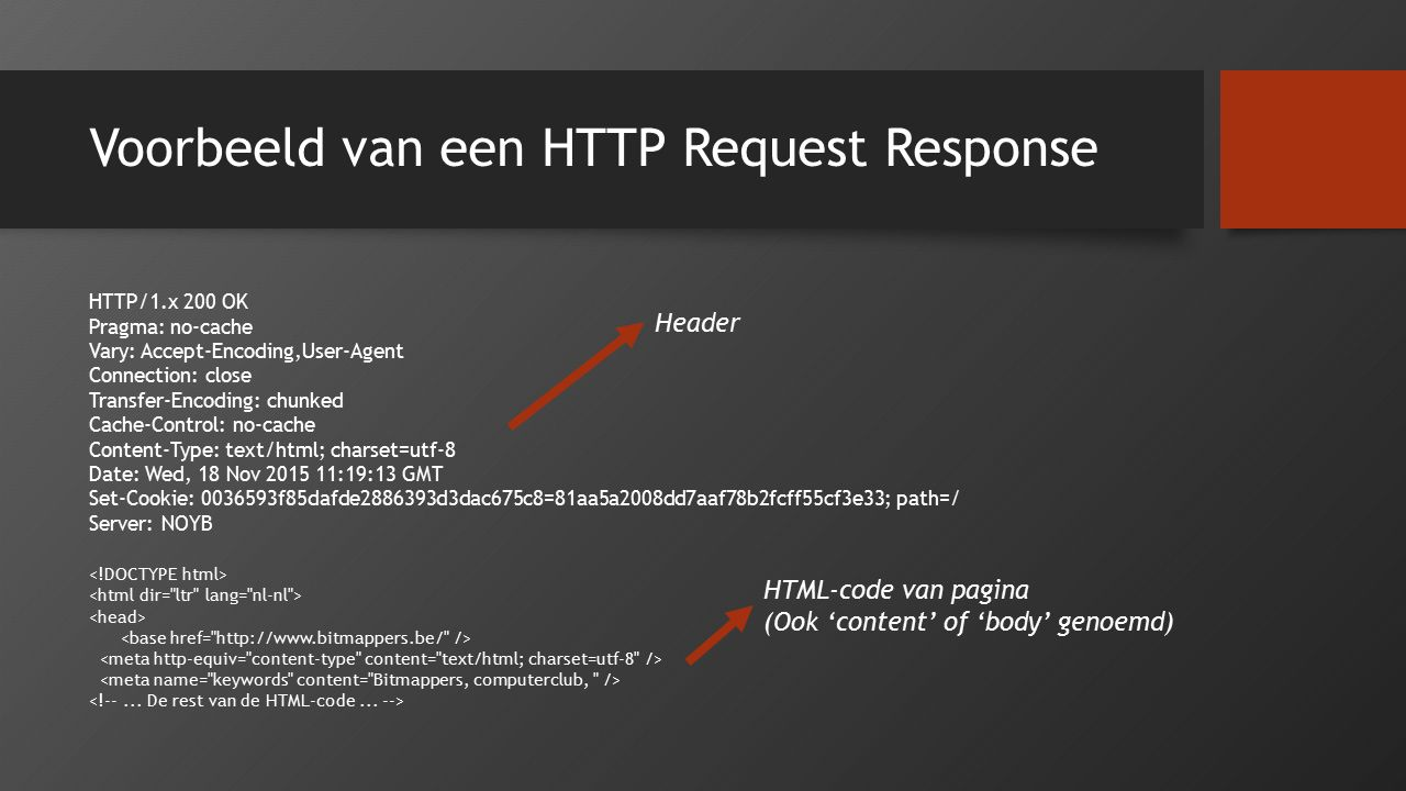 Voorbeeld van een HTTP Request Response HTTP/1.x 200 OK Pragma: no-cache Vary: Accept-Encoding,User-Agent Connection: close Transfer-Encoding: chunked