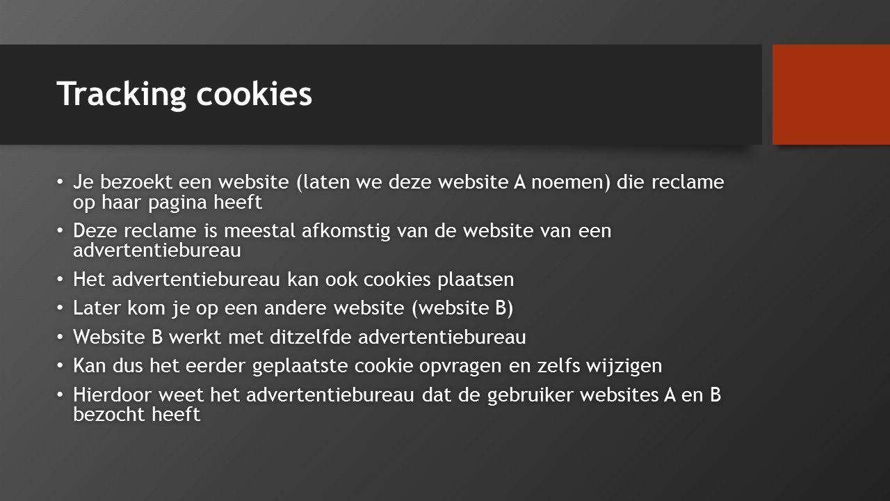 Tracking cookies Je bezoekt een website (laten we deze website A noemen) die reclame op haar pagina heeft Je bezoekt een website (laten we deze websit