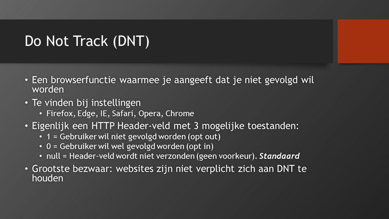 Do Not Track (DNT) Een browserfunctie waarmee je aangeeft dat je niet gevolgd wil worden Een browserfunctie waarmee je aangeeft dat je niet gevolgd wi