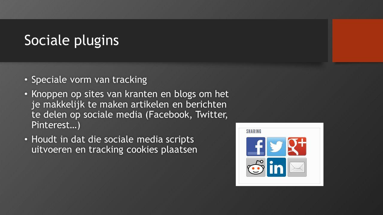 Sociale plugins Speciale vorm van tracking Speciale vorm van tracking Knoppen op sites van kranten en blogs om het je makkelijk te maken artikelen en
