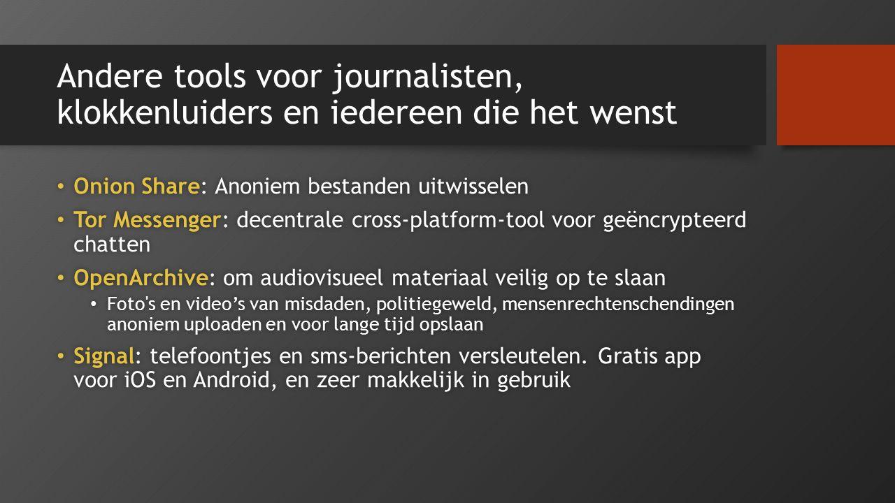 Andere tools voor journalisten, klokkenluiders en iedereen die het wenst Onion Share: Anoniem bestanden uitwisselen Onion Share: Anoniem bestanden uit