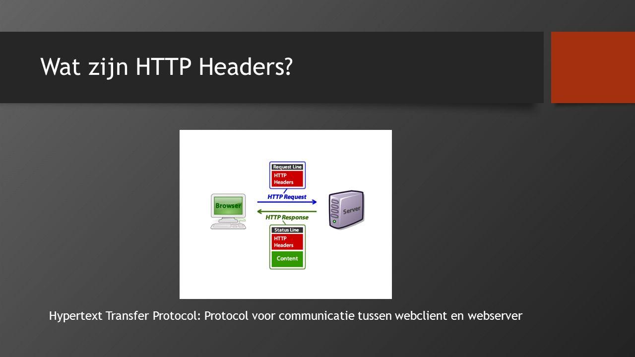 Voorbeeld van een HTTP Request Header GET / HTTP/1.1 Host: www.bitmappers.be Accept-Charset: ISO-8859-1,UTF-8;q=0.7,*;q=0.7 Cache-Control: no-cache Accept-Language: de,en;q=0.7,en-us;q=0.3 Referer: http://www.hbvl.be User-Agent: Mozilla/5.0 (Windows NT 6.1; WOW64; rv:40.0) Gecko/20100101 Firefox/42.1 Keep-Alive: 300 Connection: keep-alive Pragma: no-cache Cache-Control: no-cache DNT: 1