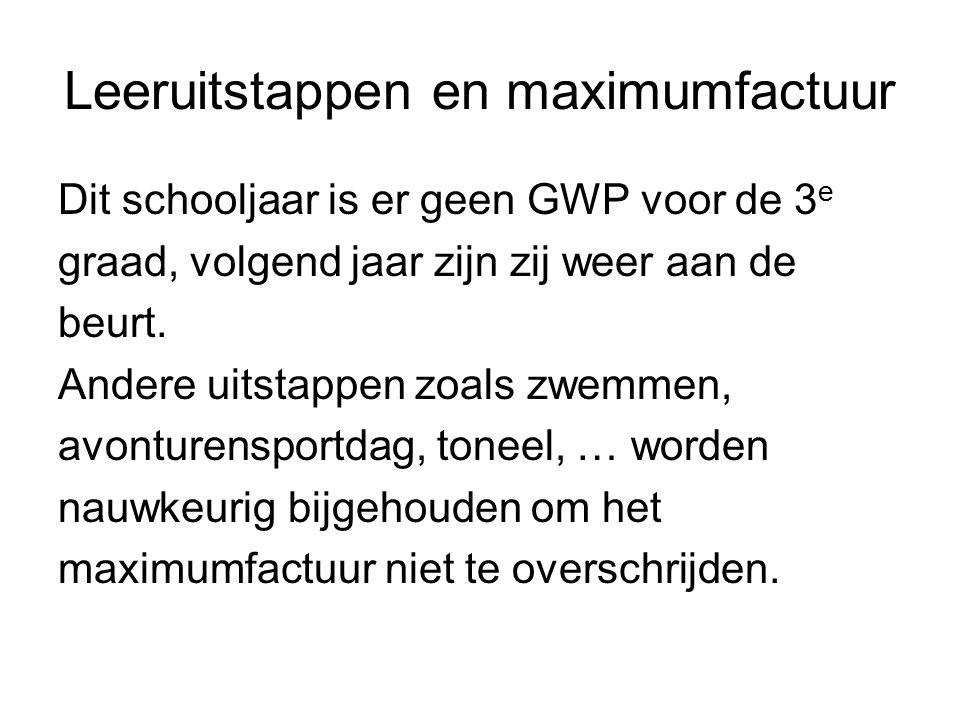Leeruitstappen en maximumfactuur Dit schooljaar is er geen GWP voor de 3 e graad, volgend jaar zijn zij weer aan de beurt.