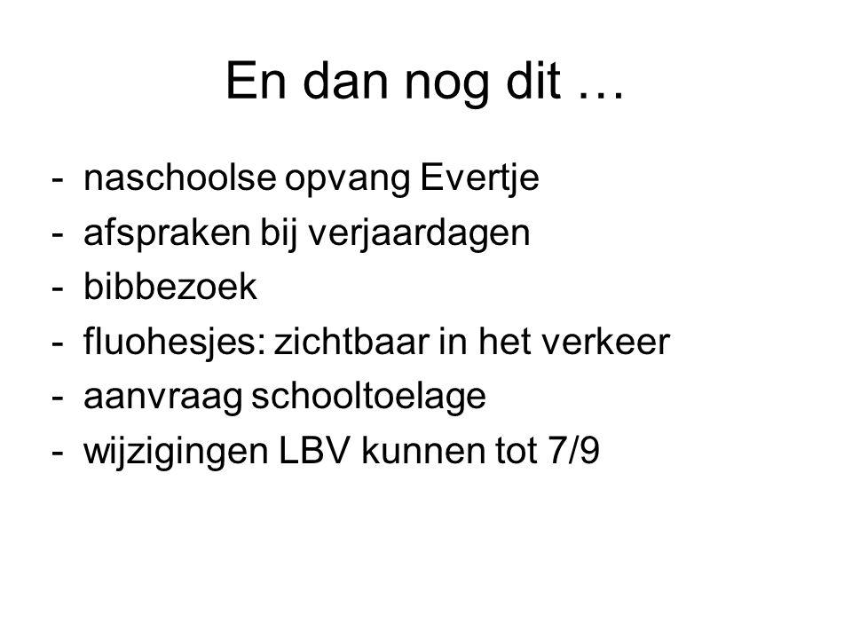 En dan nog dit … -naschoolse opvang Evertje -afspraken bij verjaardagen -bibbezoek -fluohesjes: zichtbaar in het verkeer -aanvraag schooltoelage -wijzigingen LBV kunnen tot 7/9