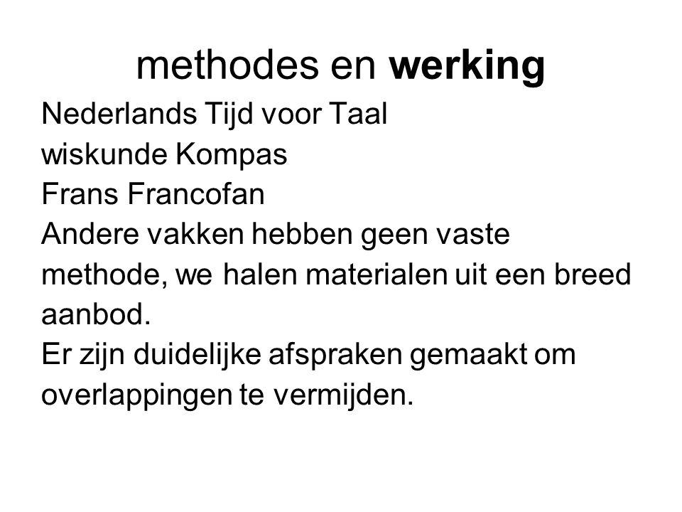 methodes en werking Nederlands Tijd voor Taal wiskunde Kompas Frans Francofan Andere vakken hebben geen vaste methode, we halen materialen uit een breed aanbod.