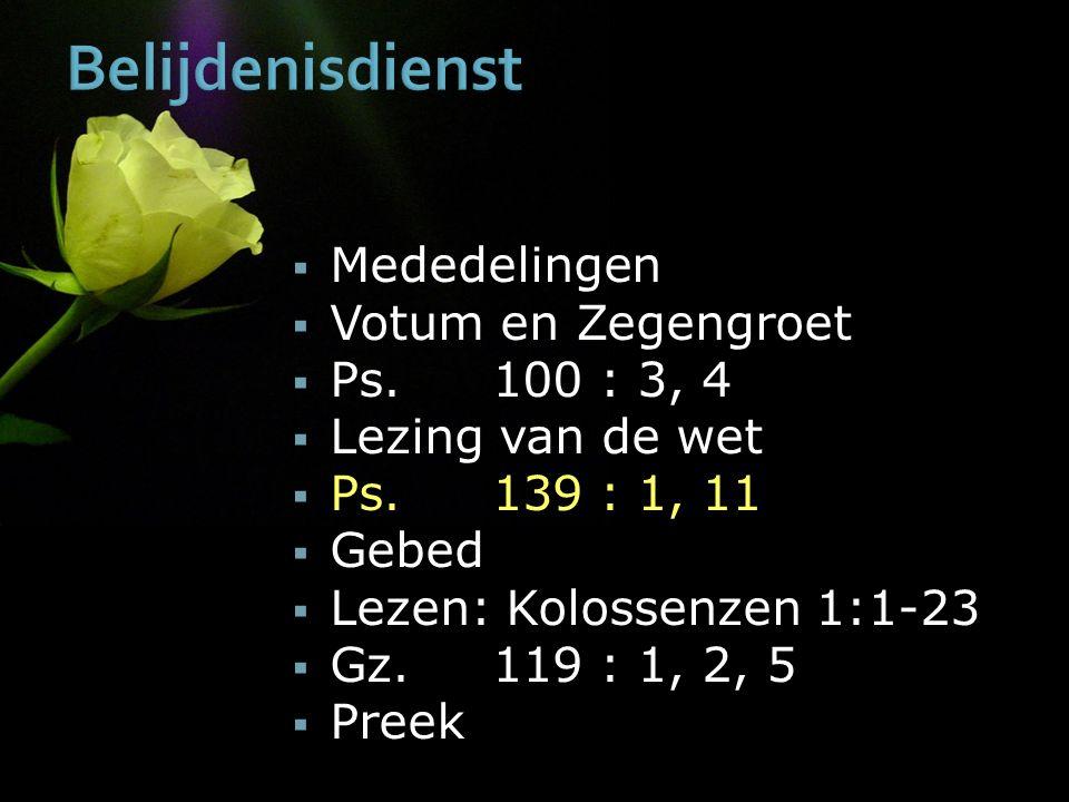 Belijdenisdienst  Mededelingen  Votum en Zegengroet  Ps.